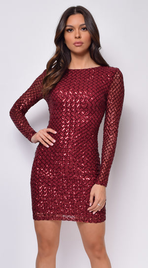 Kimberly Burgundy Red Sequin Long Sleeve Dress
