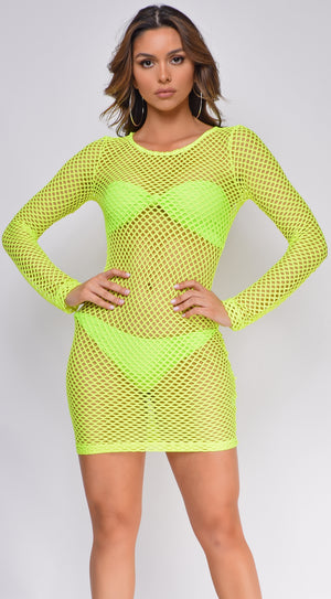 Kiki Neon Yellow Fishnet Cover up Dress