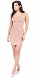 Rose Taupe Curved Hem Bustier Mini Dress - Emprada