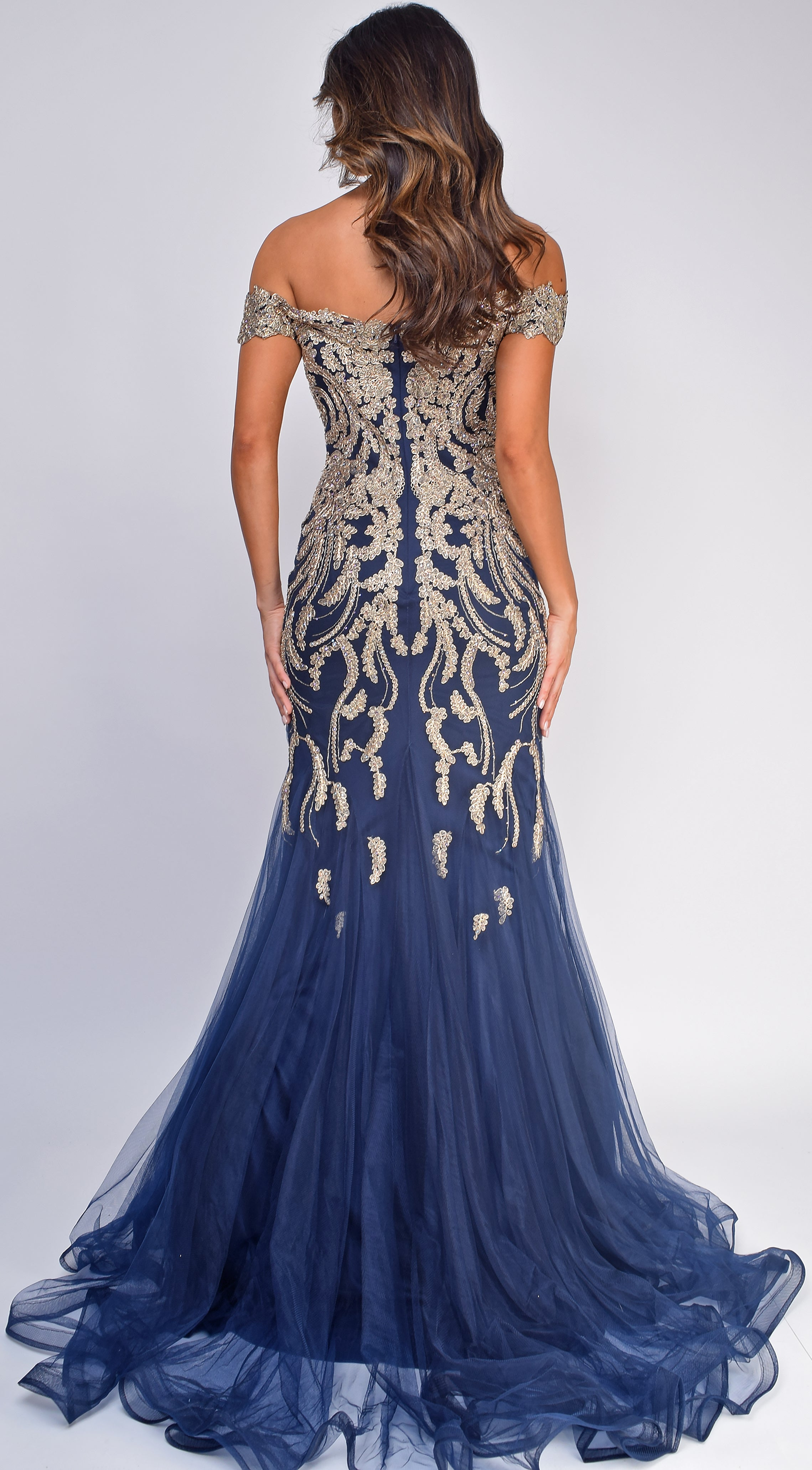 Arabelle Gold Navy Off Shoulder Mermaid Gown
