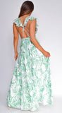 Amalfi Green Leaves Print Slit Maxi Dress