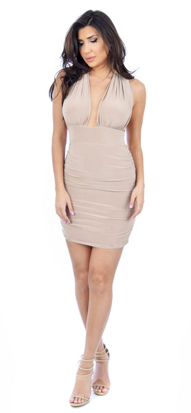 Kendra Taupe Cross Back Dress - Emprada