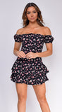 Skya Black Floral Print Off Shoulder Ruffle Dress