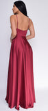 Peighton Burgundy Red Double Slit Satin Gown