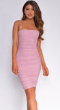 Esta Mauve Pink Ruched Midi Dress