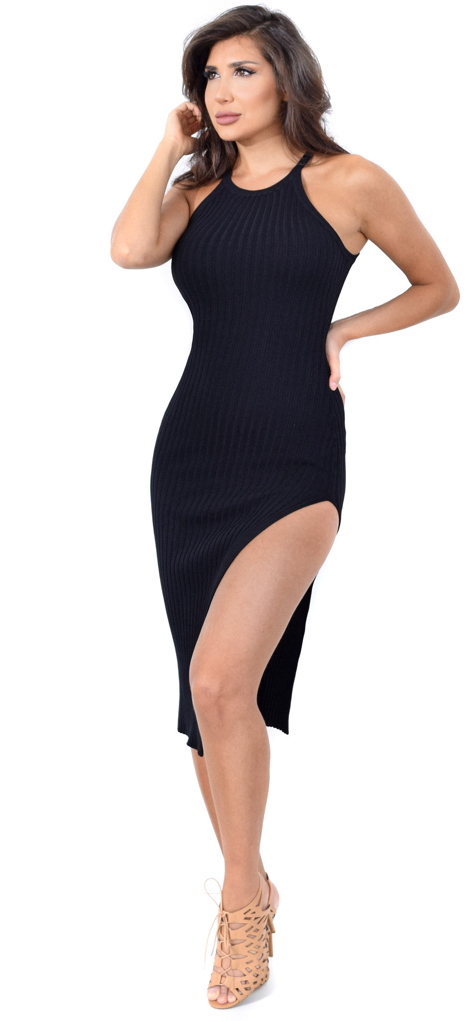 Geonna Black Ribbed High Slit Dress - Emprada