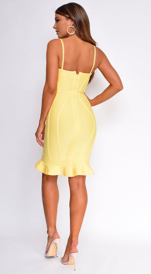 Tanne Yellow Ruffle Bandage Dress