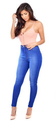 Medium Blue Wash High Waist Jeans - Emprada