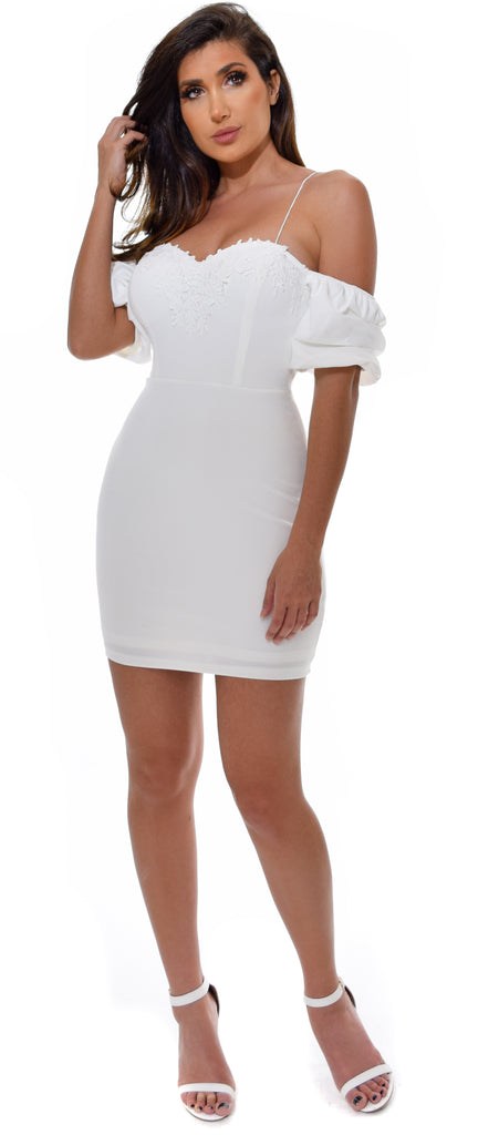 Adira White Puff Sleeve Dress - Emprada