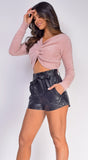 Jasmine Pink Fuzzy Twist Front Sweater Top