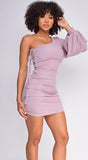 Malina Lilac Purple One Shoulder Side Ruched Dress