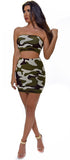 Linza Camo Green Top And Skirt Set