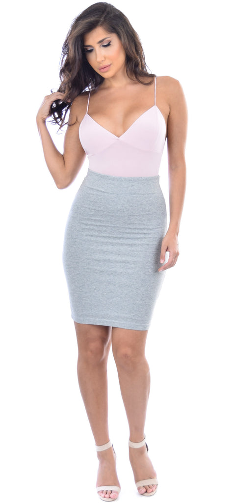 Heather Grey Fitted Jersey Skirt - Emprada