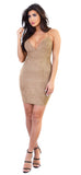 Cross Back Taupe Faux Suede Mini Dress - Emprada