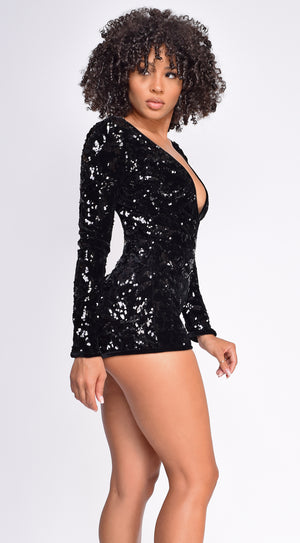 Marcellina Black Deep V Neck Sequin Velvet Romper