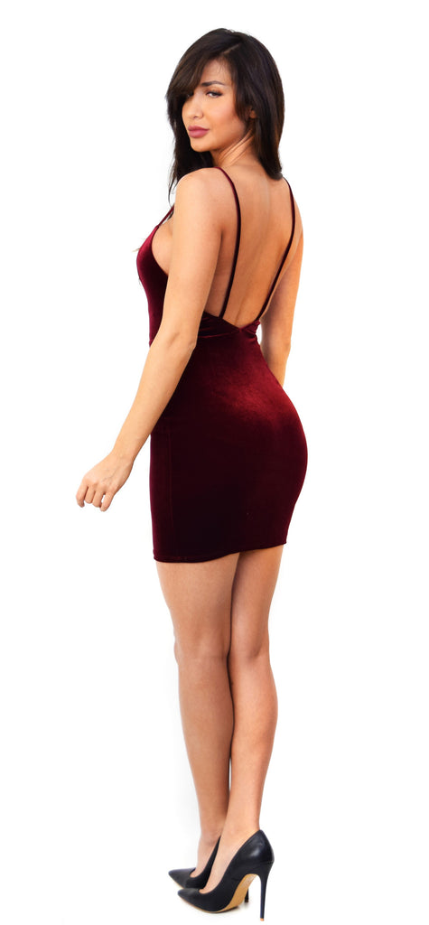 Burgundy Low Back Velvet Dress - Emprada