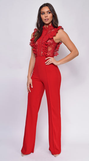 Vanna Red Crochet Flared leg Jumpsuit