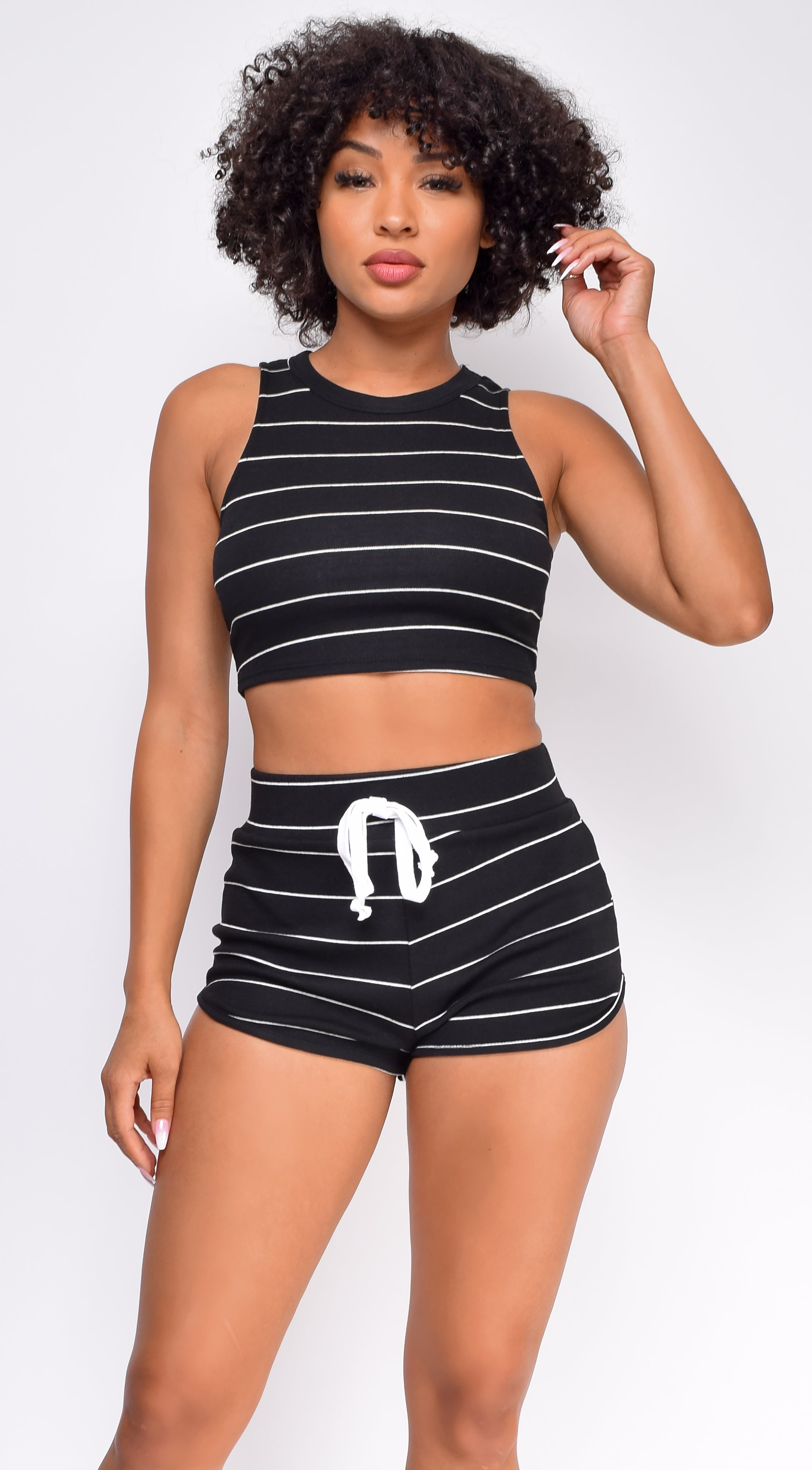 Easy Going Black Striped Top And Short Set