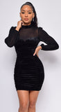 Braya Black Velvet Long Sleeve Mesh Ruched Dress