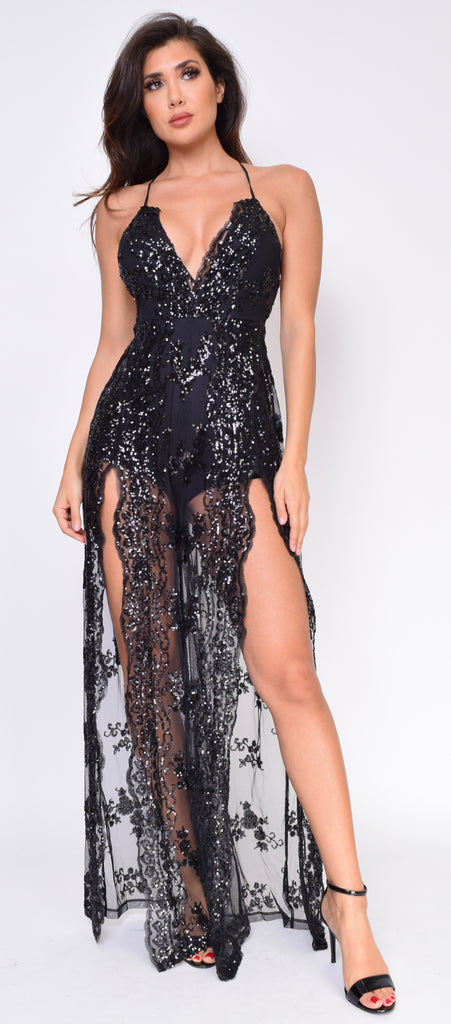 Nurani Black Lace Sequin Slit Jumpsuit Gown