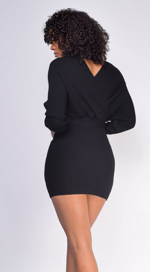 Jeanie Black Ribbed Sweater Dress