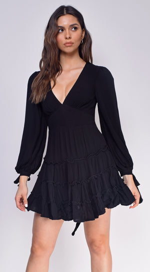Nita Black V Neckline Tiered Ruffle Dress