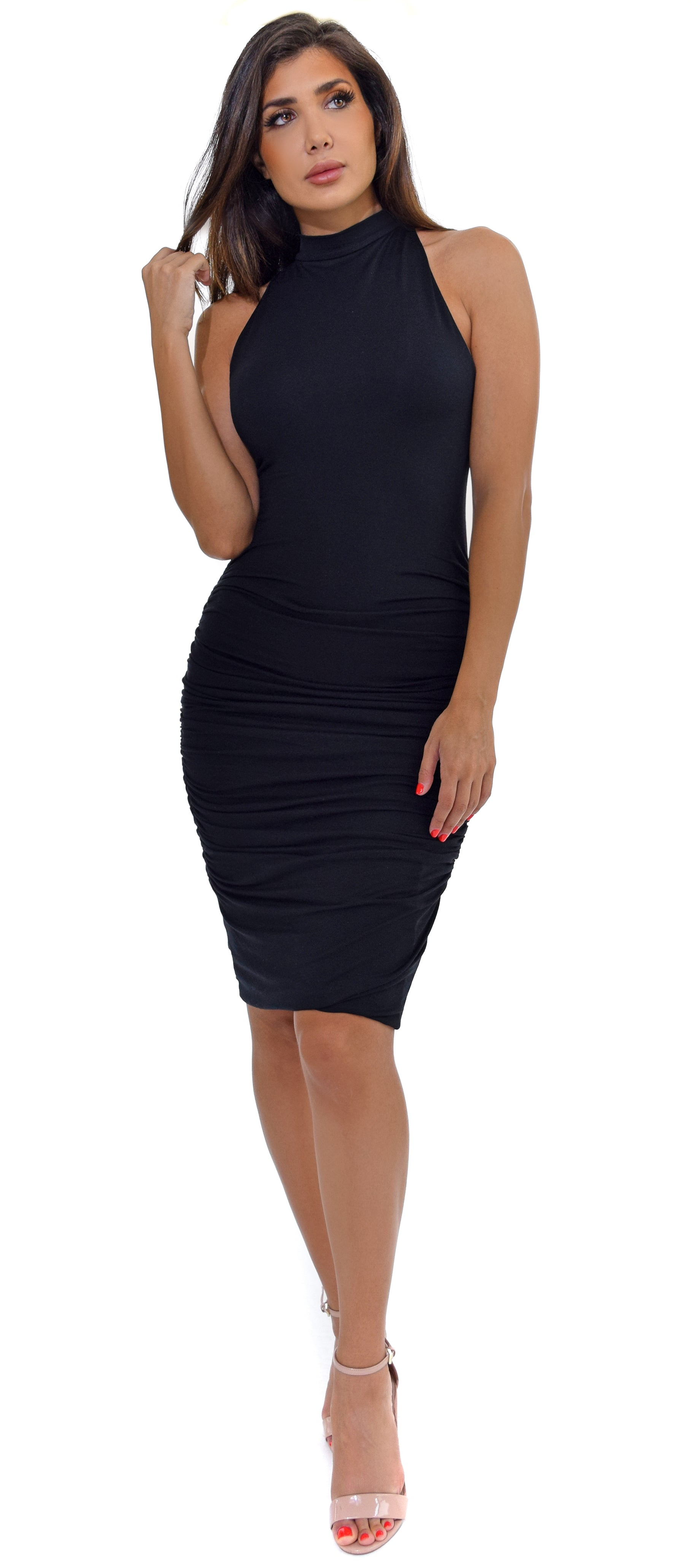 Adora Black High Neck Ruched Dress - Emprada