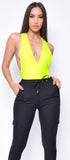 Finna Neon Yellow Deep V Bodysuit
