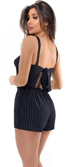 Danica Black Square Neck Stripe Romper - Emprada
