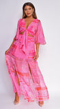 Santorini Pink Front Tie Double Slit Maxi Dress