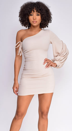 Malina Nude One Shoulder Side Ruched Dress