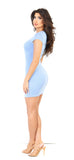 Blue Jersey Cap Sleeve Mini Dress - Emprada