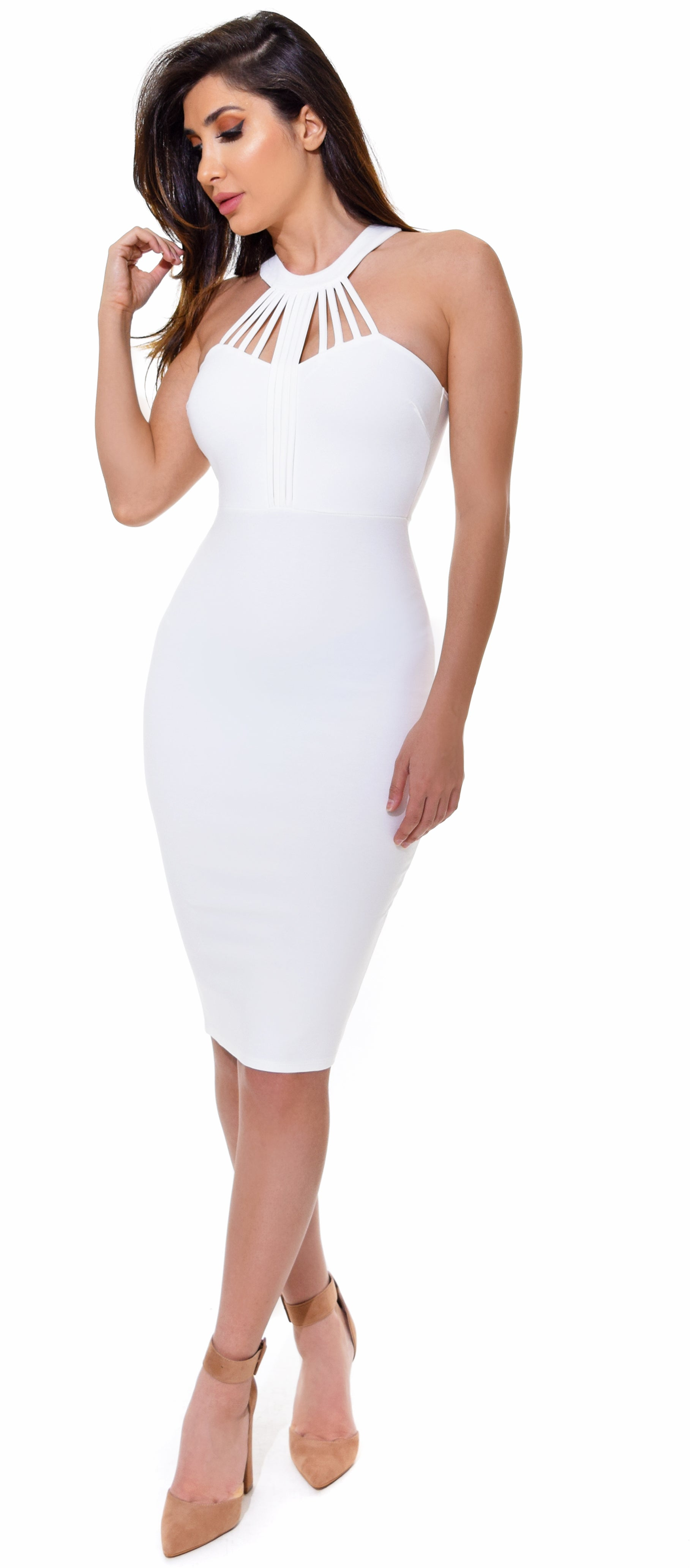 Giada White Strappy High Neck Dress