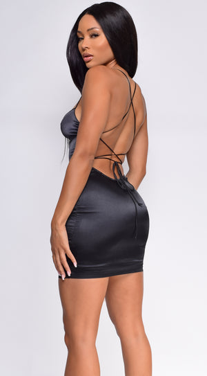 Marlana Black Satin Mini Dress