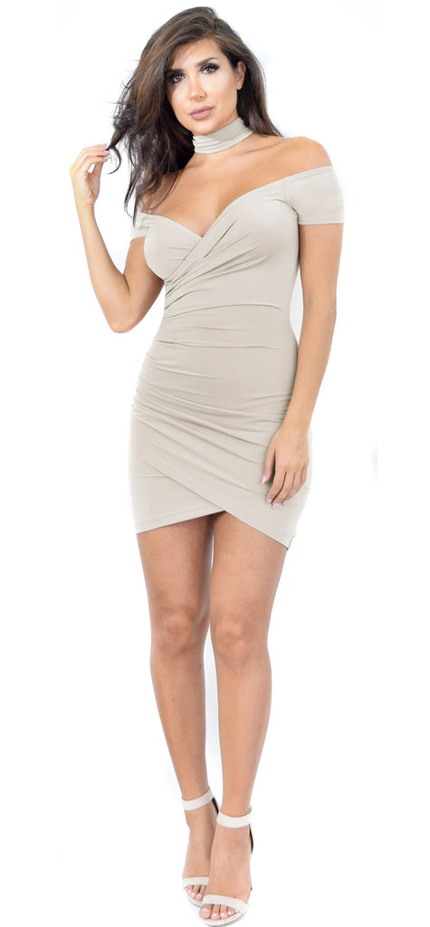 Melanie Nude Wrap Dress