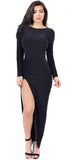 Eyes On You Black High Slit Maxi Dress - Emprada