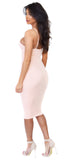 Blush Show Stopper Deep V Midi Dress - Emprada