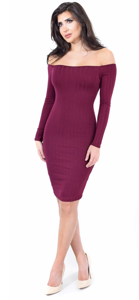 Ribbed Off Shoulder Burgundy Midi Dress