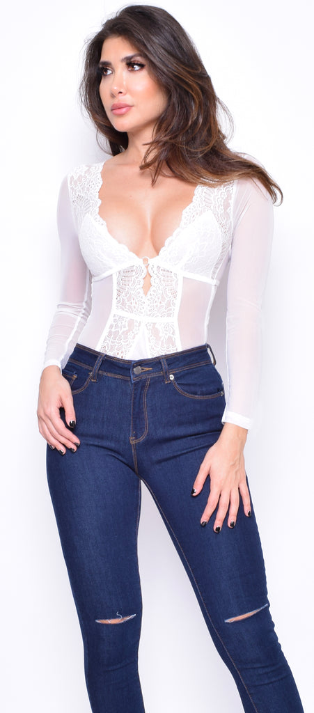Tayeena Off White Lace mesh Bodysuit