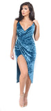 Carmina Teal Velvet Wrap Dress - Emprada