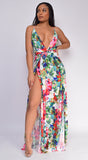 Mana White Floral Twist Double Slit Maxi Dress