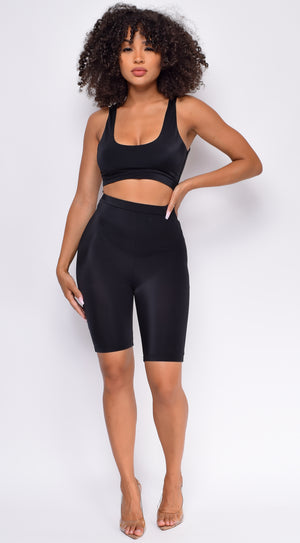 Gimme More Black Front Cutout Romper