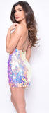 Kat Multi Pink Paillette Sequin Dress