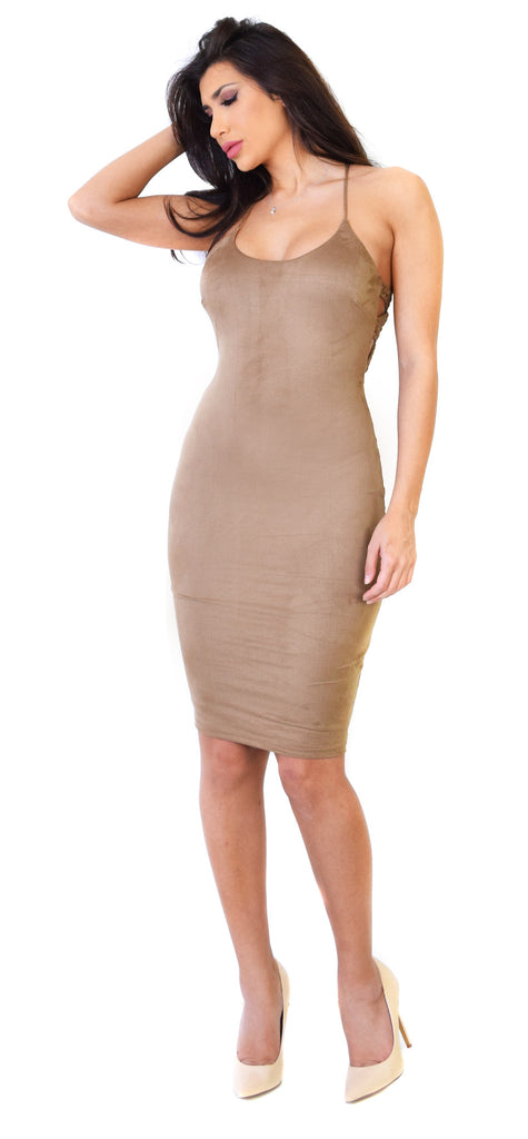 Mocha Faux Suede Braid Cross Back Midi Dress - Emprada