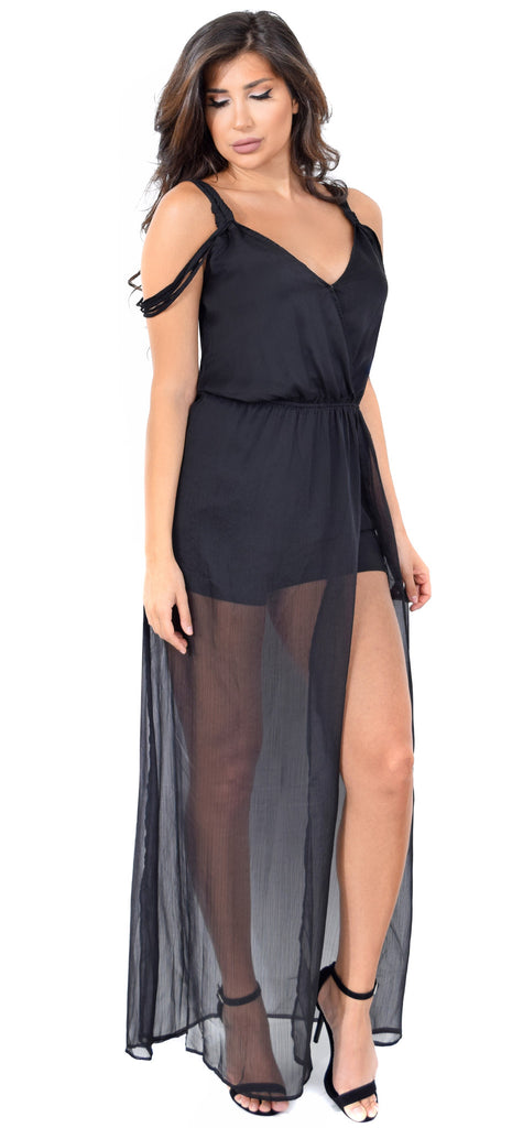 Wrap Black Maxi Romper