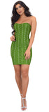 Kimmie Green Strapless Bandage Dress