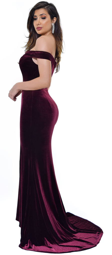 Perza Burgundy Off Shoulder Velvet Gown Dress