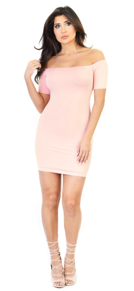 Blush Jersey Off Shoulder Mini Dress - Emprada