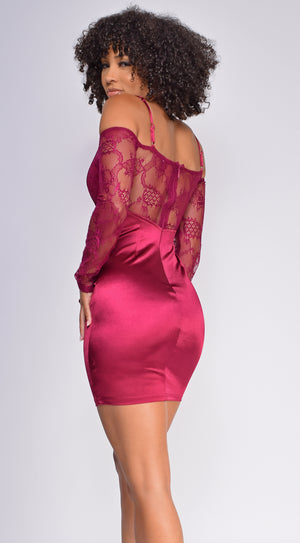Thalia Burgundy Red Ruffled Off Shoulder Satin Lace Dress