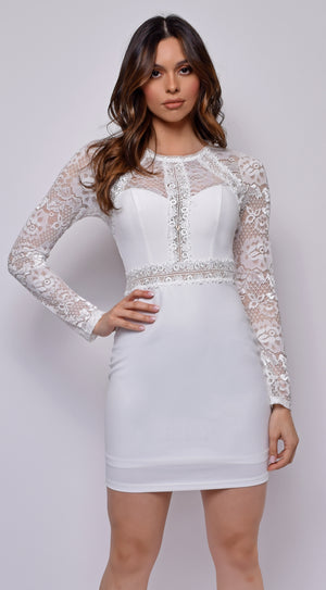 Mimi White Lace Long Sleeve Dress
